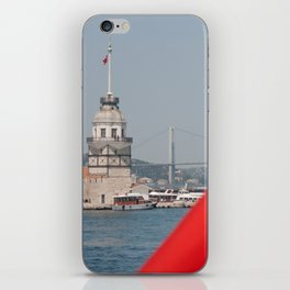 Turkish flag and Maiden tower in Istanbul iPhone Skin