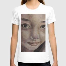 Watercolor portrait pretty asian girl T-shirt