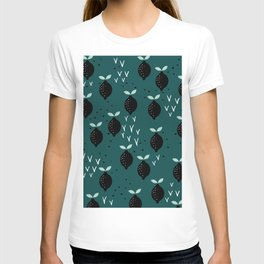 Botanical fruit garden teal winter lemons pop pattern T-shirt