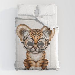 Cute Baby Tiger Cub Wearing Eye Glasses on White Comforters