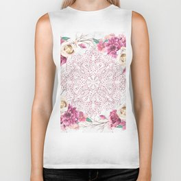 Rose Gold Mandala Garden on Marble Biker Tank