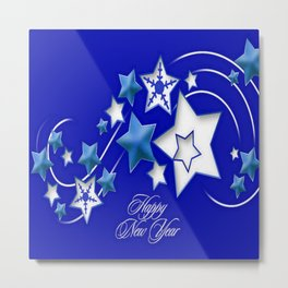 Teal and Blue Happy New Year Shooting Stars Metal Print