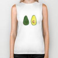 avocado Biker Tanks featuring Avocado  by Amelia Jayne