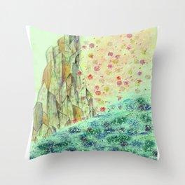 Rock of Fallen Blossoms Throw Pillow