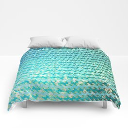 Mermaid Waves and Sea Foam, Sun Light over the Ocean Comforters