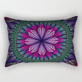Summer mandala with fantasy flower and petals Rectangular Pillow