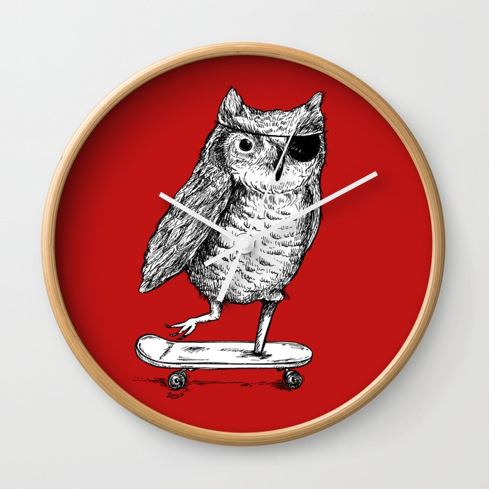 Ride On Owl_red Wall Clock