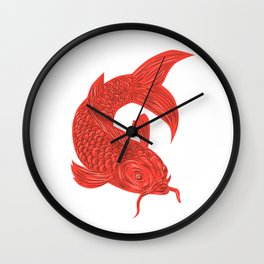 Red Koi Nishikigoi Carp Fish Drawing Wall Clock