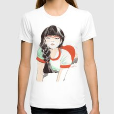 Megane White SMALL Womens Fitted Tee