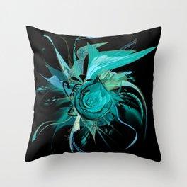 Turquoise on Black by Mia Niemi Throw Pillow