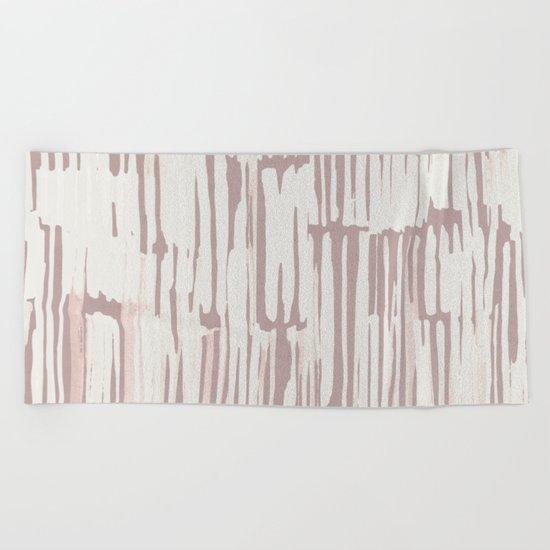 Simply Bamboo Brushstroke Lunar Gray on Clay Pink Beach Towel