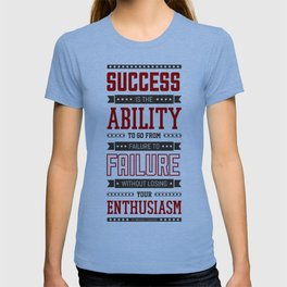 Lab No.4 Success is the ability Sir Winston Churchill Inspirational Quotes T-shirt