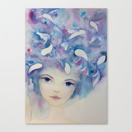 Watercolor girl with fish in the water portrait Canvas Print
