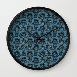 Blue Ancient Mexican Myth Wall Clock