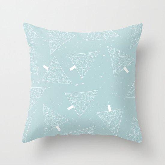 Christmas Trees Light Blue Throw Pillow