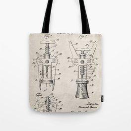 Cork Screw Patent - Wine Art - Antique Tote Bag