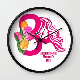 International Women s Day Greetings Card with wate Women's Day t shirt Womens Day WDay 8 March IWD t Wall Clock