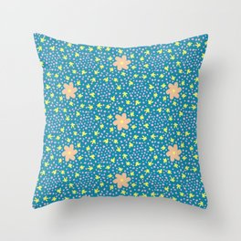Peach and yellow flowers on blue Throw Pillow