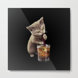 CAT LOVES SODA Metal Print
