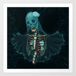 Skeleton with veil and white roses Art Print