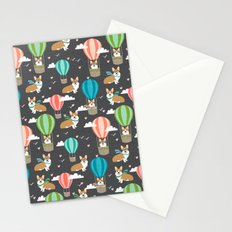 Corgis in Hot Air Balloons - cute dog design Stationery Cards