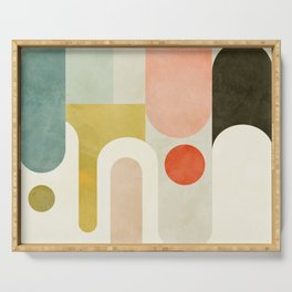 geometry abstract pastel Serving Tray