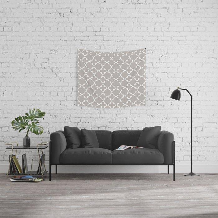 Classic Quatrefoil pattern, warm grey Wall Tapestry