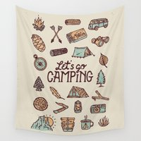 camping Wall Tapestries featuring Lets Go Camping by WEAREYAWN