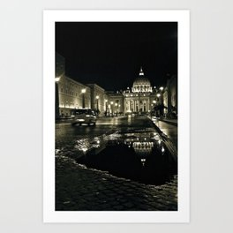Puddle Reflections on the Steps of the Vatican - St. Peter's Basilica Art Print