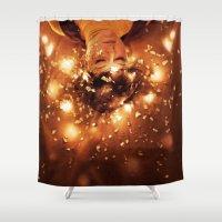 sleep Shower Curtains featuring Sleep by Mareva Nardelli