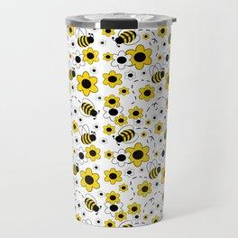 Honey Bumble Bee Yellow Floral Pattern Travel Mug