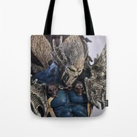 spawn Tote Bags featuring blue Spawn by Sofia Mansilla