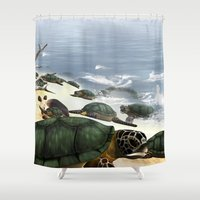 turtles Shower Curtains featuring Turtles by nicky2342