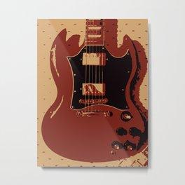 Red Electric Guitar Metal Print