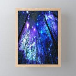 black trees purple blue space Framed Mini Art Print