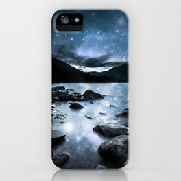 Magical Mountain Lake Steel Blue Gray iPhone Case