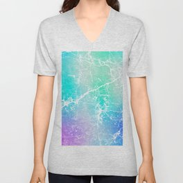 Modern turquoise purple watercolor abstract marble Unisex V-Neck