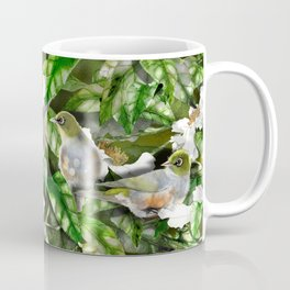 Wax Eyes in a Camellia Bush Coffee Mug