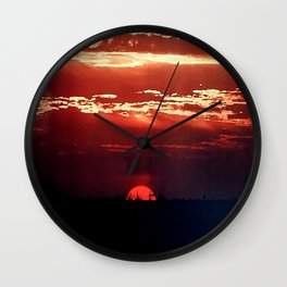 Burning Southern Setting Sun Wall Clock