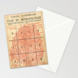Vintage Paris City Centre Map Stationery Cards