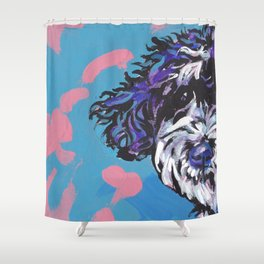 PWD Portuguese Water Dog Fun bright colorful Pop Art Dog Paintingby Lea Shower Curtain