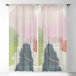 sky abstract with pink & green clouds Sheer Curtain