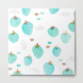 Strawberry summer love tropical hawaiian fruit Metal Print