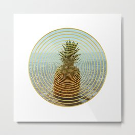 Pineapple in golden circles Metal Print