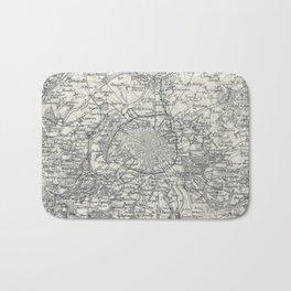 Vintage Map of Paris France Vicinity (1841) Bath Mat