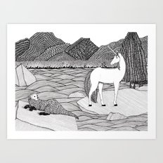 A Meeting by the Water--B&W Art Print