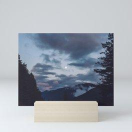 quietly, moon Mini Art Print