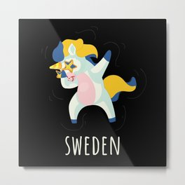 Sweden Flag Dabbing Unicorn Metal Print