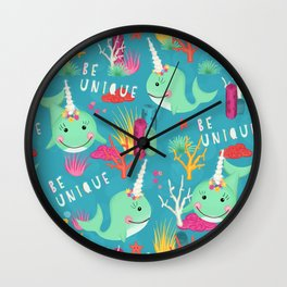 Narwhal Be Unique Pattern Wall Clock