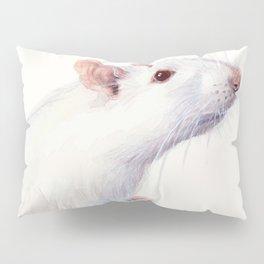 White Rat Watercolor Albino Rat Animal Pillow Sham